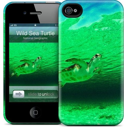 Gelaskins Apple iPhone 4 Hardcase Kılıf A Wild Green Sea Turt