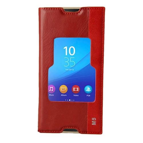KılıfShop Sony Xperia M5 Pencereli Magnum Kılıf (Kırmızı)