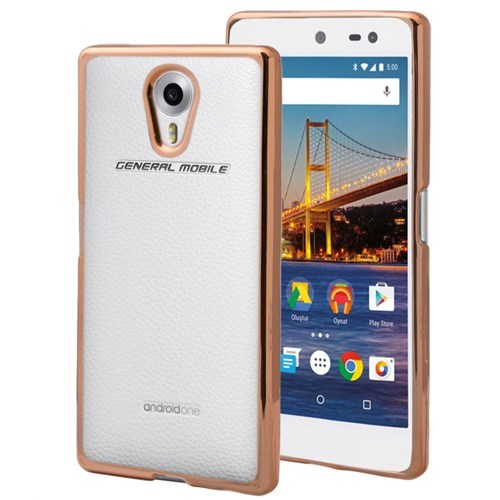 KılıfShop General Mobile 4G Android One Lazer Silikon Kılıf (Gold)