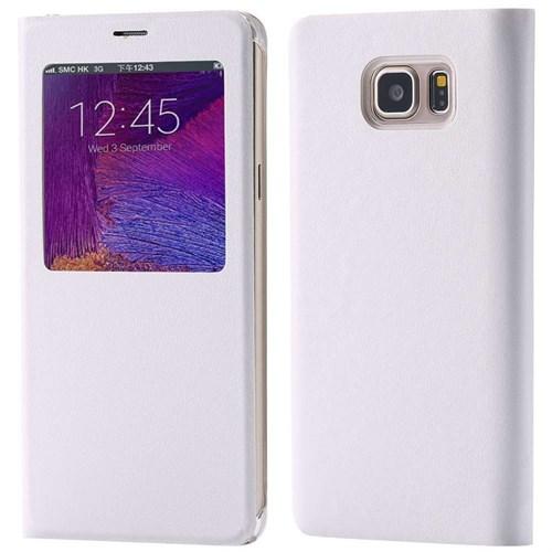 KılıfShop Samsung Galaxy Note 5 Pencereli Flip Cover (Beyaz)