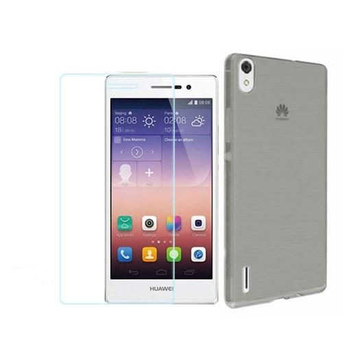 KılıfShop Huawei Ascend P7 0,2Mm Silikon Kılıf (Füme) + Kırılmaz Cam Ekran Koruyucu