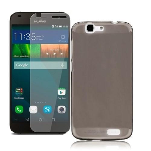 KılıfShop Huawei Ascend G7 Silikon Kılıf (Füme) + Kırılmaz Cam Ekran Koruyucu