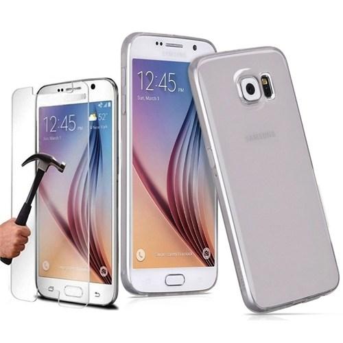 KılıfShop Samsung Galaxy S7 0,2 Mm Silikon Kılıf (Füme) + Kırılmaz Cam Ekran Koruyucu