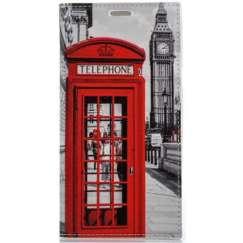 CoverZone Samsung Galaxy Note 5 Kılıf Kapaklı Resimli Londra Telefon Kulübesi