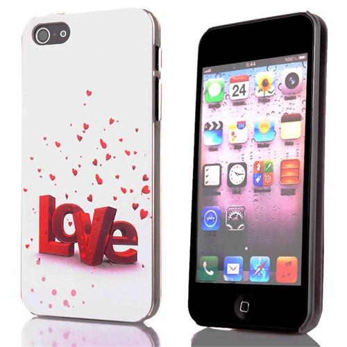 CoverZone İphone 5 - 5S Kılıf Resimli Sert Arka Kapak Love