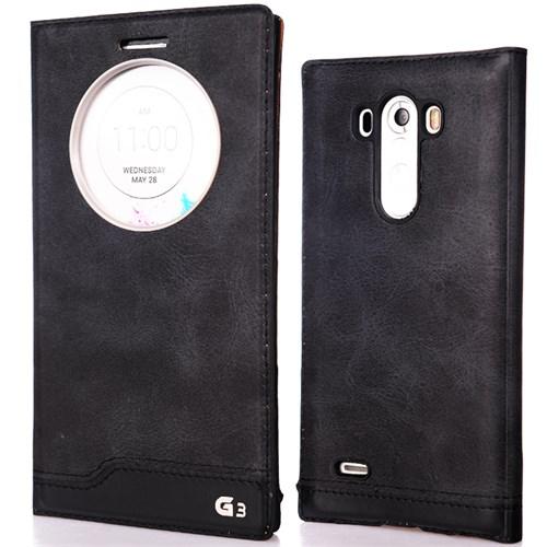 CoverZone Lg G3 Kılıf Akıllı Kapaklı Flip Siyah