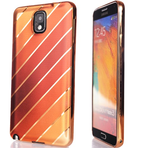 CoverZone Samsung Galaxy Note 3 Kılıf Silikon Çizgili Parlak Gold