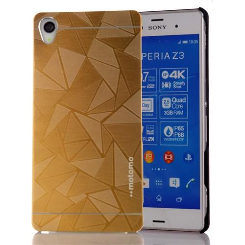CoverZone Sony Xperia Z3 Kılıf Sert Metalik Kapak Gold