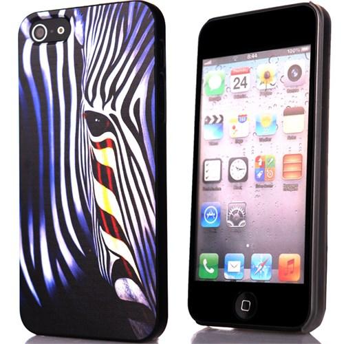 CoverZone İphone 5 - 5S Kılıf Resimli Sert Arka Kapak Zebra