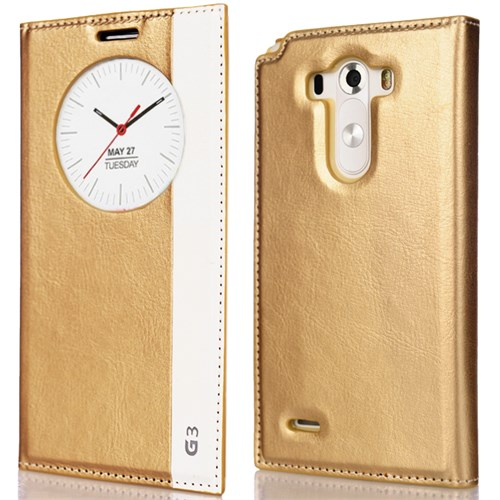 CoverZone Lg G3 Kılıf Akıllı Kapaklı Milano Gold