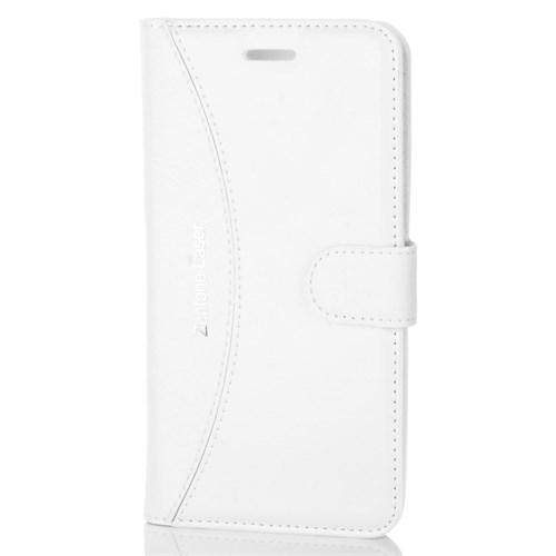 Cep Market Asus Zenfone 2 Lazer Kılıf - Ze500kl Kapaklı Cüzdan Kartvizitli - Beyaz