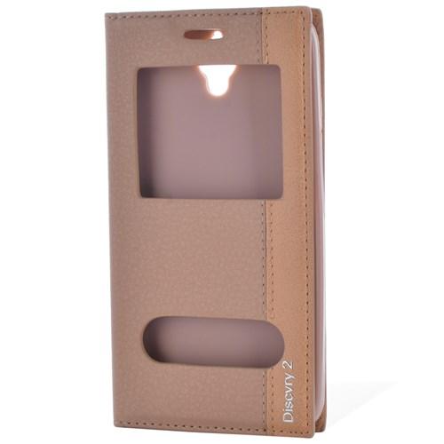 Cep Market General Mobile Discovery 2 Kılıf Magnum Pencereli - Gold