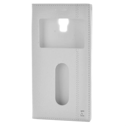 Cep Market Lenovo Vibe P1 Kılıf Pencereli Kapaklı Magnum - Beyaz
