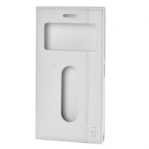 Cep Market Lenovo S60 Kılıf Pencereli Kapaklı Magnum - Beyaz