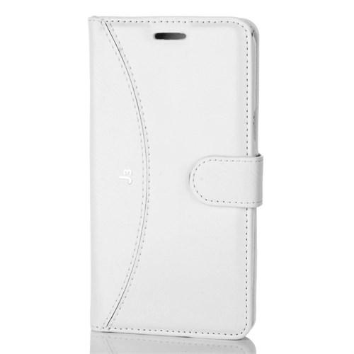 Cep Market Samsung Galaxy J3 Kılıf Kapaklı Cüzdan Kartvizitli - Beyaz