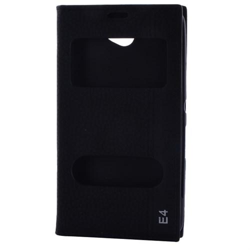 Cep Market Sony Xperia E4 Kılıf Pencereli Kapaklı Magnum - Siyah