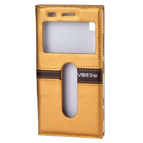Cep Market Lenovo Vibeshot Kılıf Kapaklı Pencereli Magnum - Gold