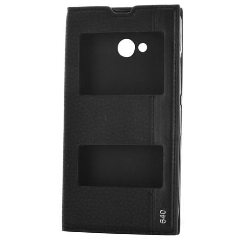 Cep Market Nokia Lumia 640 Kılıf Pencereli Kapaklı Magnum - Siyah