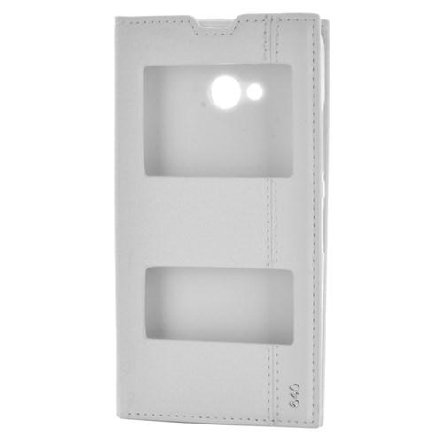Cep Market Nokia Lumia 640 Kılıf Pencereli Kapaklı Magnum - Beyaz