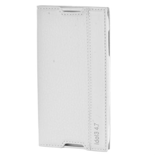 Cep Market Alcatel One Touch Idol 3 4.7 Kılıf Kapaklı Magnum - Beyaz