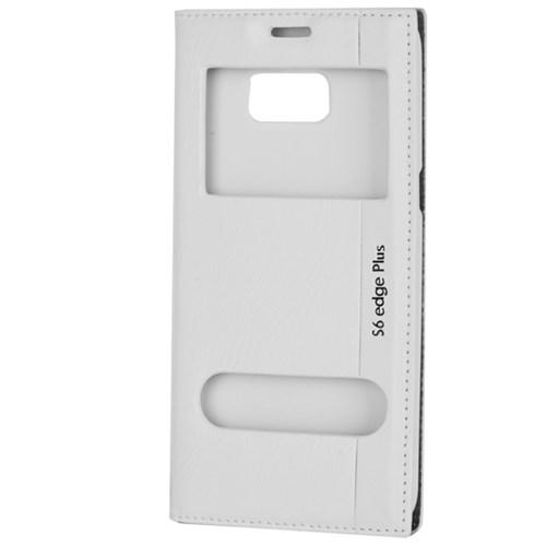 Cep Market Samsung Galaxy S6 Edge Plus Kılıf Kapaklı Pencereli Milano - Beyaz