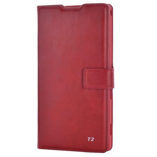 Cep Market Sony Xperia T2 Ultra Kılıf Kartvizitli Cüzdan Mıknatıslı - Kırmızı
