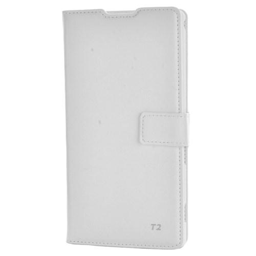 Cep Market Sony Xperia T2 Ultra Kılıf Kartvizitli Cüzdan Mıknatıslı - Beyaz