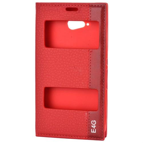 Cep Market Sony Xperia E4g Kılıf Kapaklı Pencereli Magnum - Kırmızı