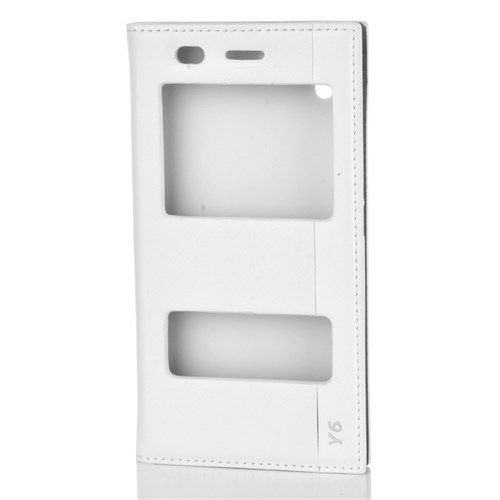 Cep Market Huawei Y6 Kılıf Pencereli Kapaklı Milano - Beyaz
