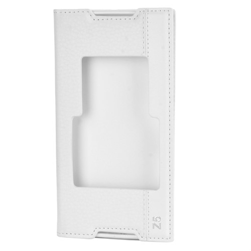 Cep Market Sony Xperia Z5 Kılıf Kapaklı Pencereli Magnum - Beyaz