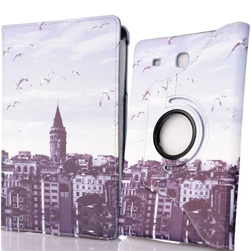 CoverZone Samsung Galaxy Tab E T560 Kılıf Galata Kulesi Desenli