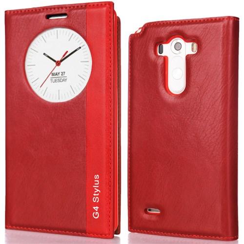 CoverZone Lg G4 Stylus Kılıf Akıllı Pencere Çift Renk Milano Kırmızı