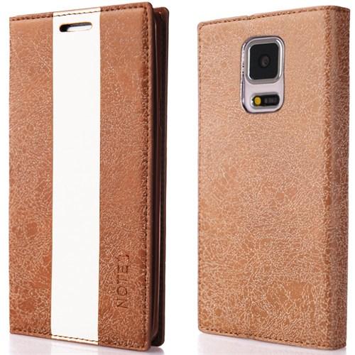 CoverZone Samsung Galaxy Note 3 Kılıf Duxal Standlı Deri Kapaklı Kahverengi