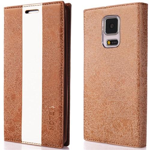 CoverZone Samsung Galaxy Note 4 Kılıf Duxal Standlı Deri Kapaklı Kahverengi