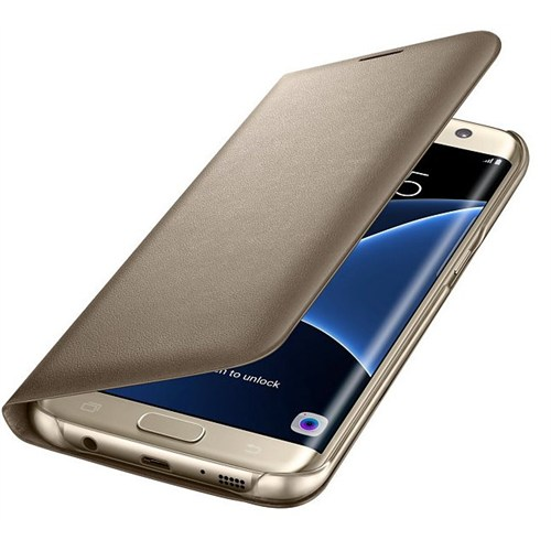Samsung Galaxy S7 Edge LED View Fonksiyonel Cover Gold - EF-NG935PFEGWW