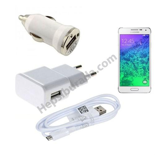 Fonemax Samsung Galaxy Alpha 3İn1 Ev Ve Araç Şarjı + Data Kablosu Seti