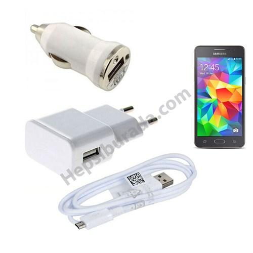 Fonemax Samsung Galaxy G531 Grand Prime 3İn1 Ev Ve Araç Şarjı + Data Kablosu Seti