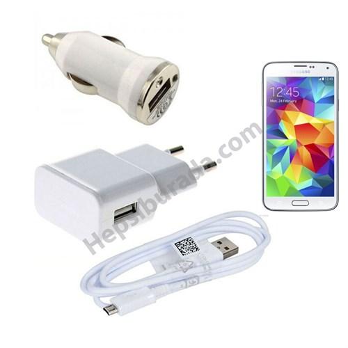 Fonemax Samsung Galaxy S5 3İn1 Ev Ve Araç Şarjı + Data Kablosu Seti