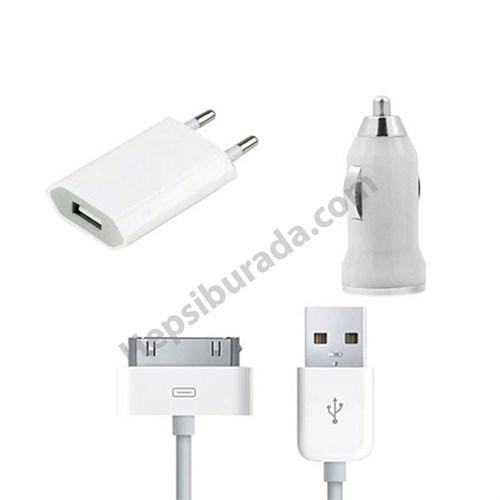 Fonemax Apple İphone 4-4S 3İn1 Ev Ve Araç Şarjı + Data Kablosu Seti