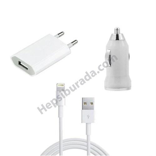 Fonemax Apple İphone 6 Plus-6S Plus 3İn1 Ev Ve Araç Şarjı + Data Kablosu Seti İos 9,2 Destekli