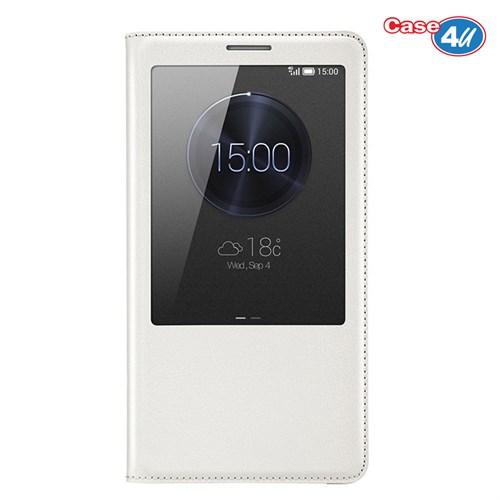 Case 4U Huawei Ascend Mate 7 Pencereli Flip Cover Beyaz Kılıf