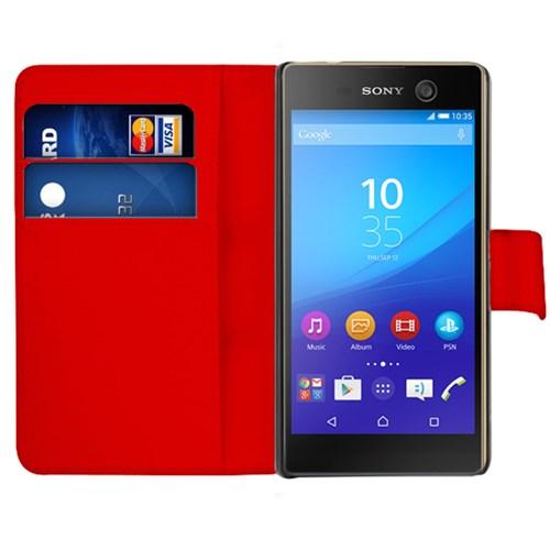 Microsonic Sony Xperia M5 Kılıf Cüzdanlı Deri Kırmızı