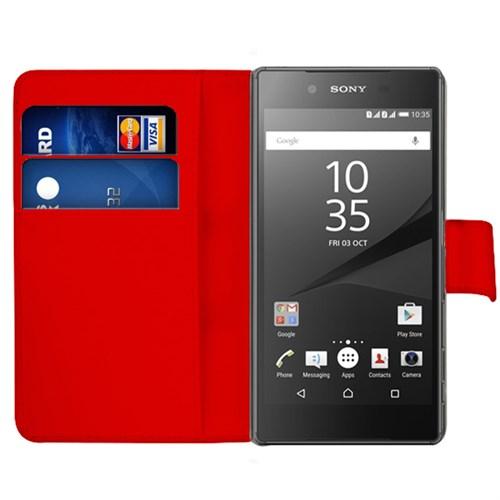 Microsonic Sony Xperia Z5 Kılıf Cüzdanlı Deri Kırmızı