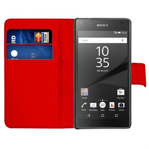 Microsonic Sony Xperia Z5 Compact (Z5 Mini) Kılıf Cüzdanlı Deri Kırmızı