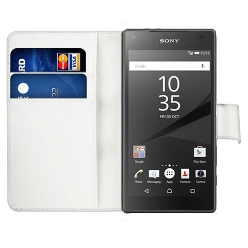 Microsonic Sony Xperia Z5 Compact (Z5 Mini) Kılıf Cüzdanlı Deri Beyaz