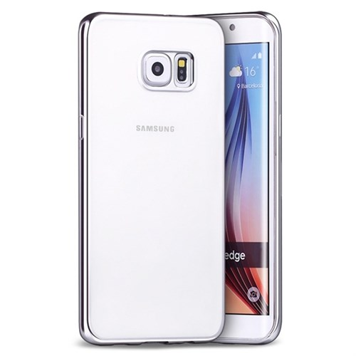 KılıfShop Samsung Galaxy S7 Edge Lazer Silikon Kılıf (Gümüş)