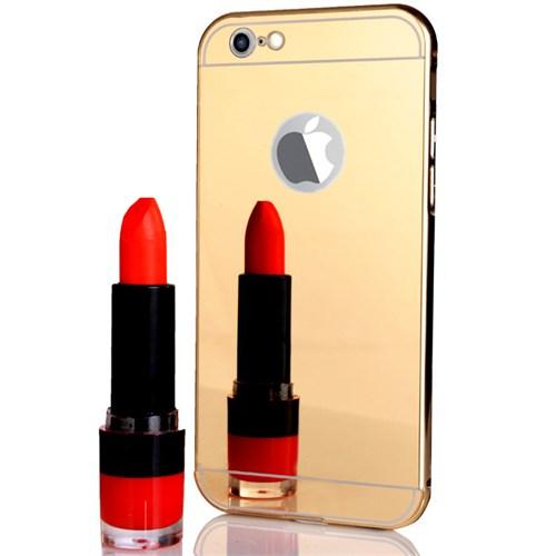 CoverZone İphone 6 Plus Kılıf Aynalı Metal Bumper Gold