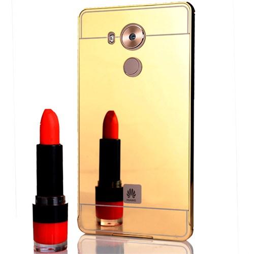 CoverZone Huawei Mate 8 Kılıf Aynalı Metal Bumper Gold