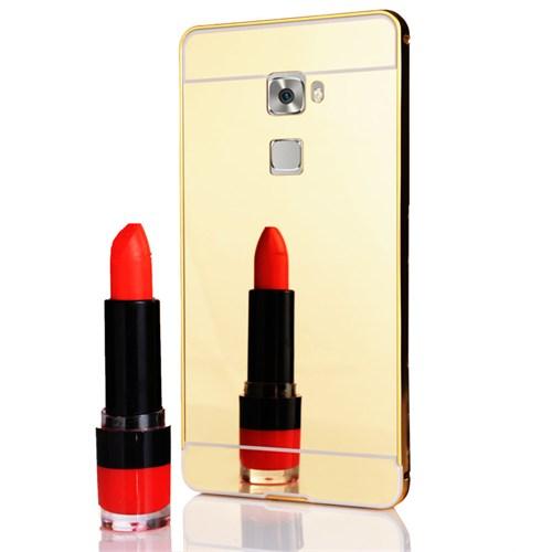 CoverZone Huawei Mate S Kılıf Aynalı Metal Bumper Gold