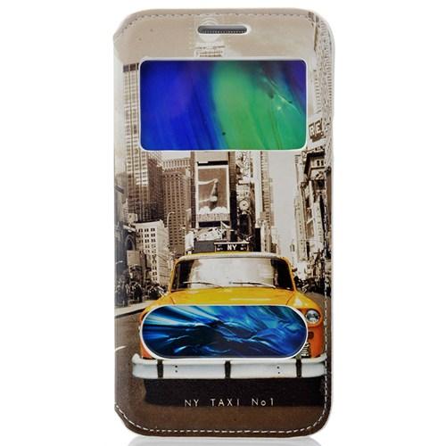 CoverZone Samsung Galaxy E5 Kılıf Kapaklı Resimli Pencereli New York Taxi